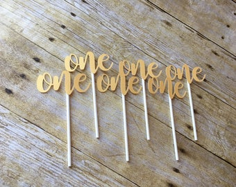 One Cupcake Toppers  - Set of 12 Toppers- One Toppers - First Birthday Decorations - Pink and Gold Party - First Birthday Party-- Cake Smash