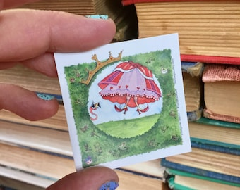 QUEEN OF HEARTS square sticker faerie tale feet label sticker alice in wonderland sticker