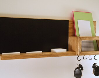 Mail and Key Organizer-Chalkboard with Shelf-Farmhouse-Country-Rustic