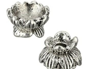 8pc 9mm antique silver finish metal bead caps-7227j