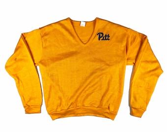 "VTG 1970s/80s University of Pittsburgh ""Pitt"" Panthers V-neck Sweater - L"