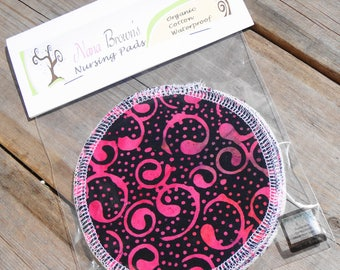 Reusable Nursing Pads, Waterproof Nursing Pads - Black & Pink Batik Swirl