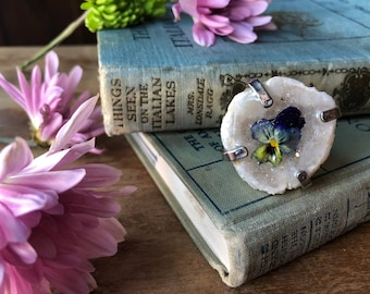 stunning one of a kind white geode and pansy statement ring