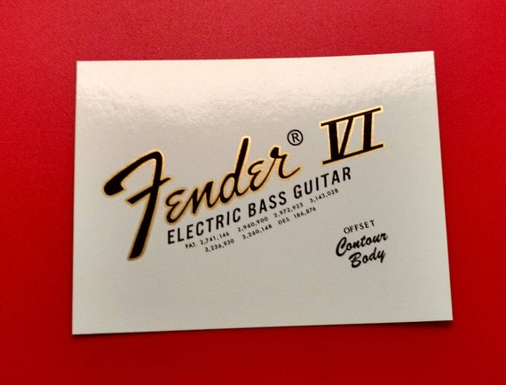 Custom 70's Bass VI Waterslide Decal In Gold metallic binding on Black - Two with each order.