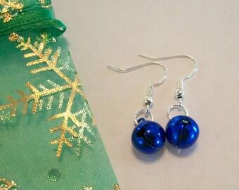Cute Blue Christmas Jingle Bell Earrings