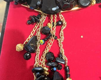 Brooch black beaded and chain
