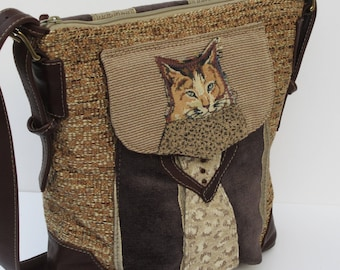 LARGE SHOULDER BAG by Elizabeth Z Mow  Fabric and Leather Collage Art Star Struck Kitty s Red Carpet Moment