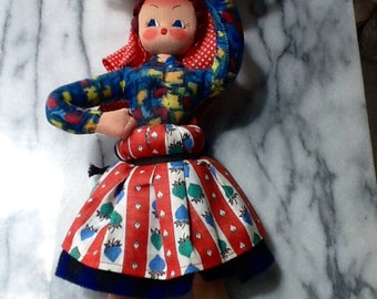 Fish Monger Doll. Cloth Doll Woman Carrying a fish on hat on head. Fish-Monger Doll. Delightful Gift or for the Collector.Rare.Not a Toy
