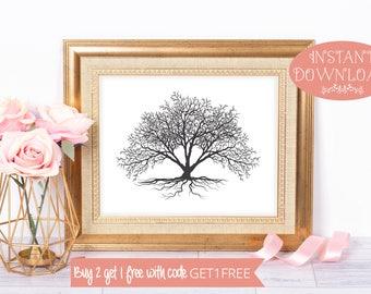 Tree Print, Printable Wall Art, Black and White Print, Black and White Art, Printables, Tree Art, Minimalist Print, Minimalist Art, Prints