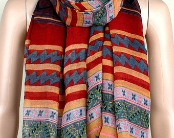 Red leisure cotton scarf, ethnic style stripe print scarves, shawls, collar