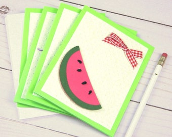 Stationery Set - Summer Themed -  Ice Cream Cone - Grapes - Apple - Watermelon Slice - All Occasion Cards - Cricut Cards - Clearance Sale