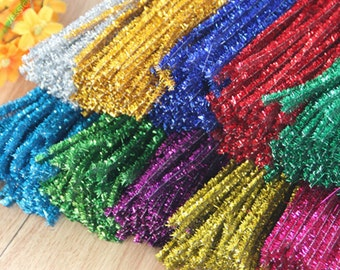 100pcs/lot 12 Inches Assorted Colors Shiny Chenille Stems Metallic Pipe Cleaner Tinsel Stems Wired Sticks DIY Craft Supplies