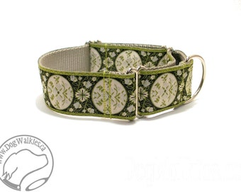 """Green Medalion Vines Wide Dog Collar - 1.5"""" (38mm) Wide - Martingale or Quick Release - Choice of collar style and size"""