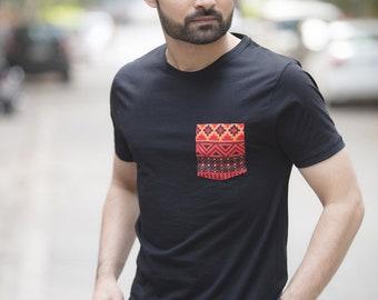 Stunning Red Pocket Black Organic Cotton T-Shirt