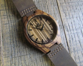 FREE Engraving, Wood Watch,Fathers Day Gift, Boyfriend Gift,Mens watch, Groomsmen gift,Husband Gift, Anniversary Gift, hand made watch SM120