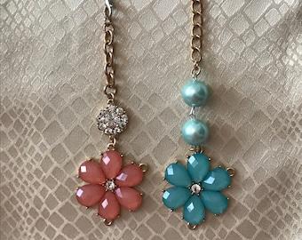 Flowers and Gems Scissor Fob / Scissors Fob / Scissor Fobs / Key Fob