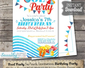 Pool Party Invitation - INSTANT DOWNLOAD -  Editable & Printable Birthday Party, Summer, Swimming, Beach, Invite by Sassaby Parties