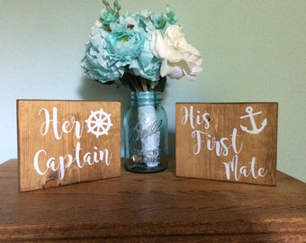 Her Captain His First Mate Wedding Table Sign - Nautical Wedding Table Sign - Ocean Wedding Table Signs - Beach Wedding Table Signs - Anchor