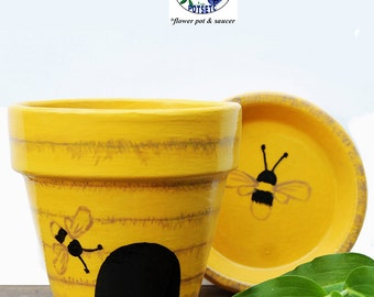 Painted Bee Hive Flower Pot - Yellow, Terra Cotta Planter, Hand Painted, Clay Pot, Garden, Bumble Bees, Honey Bees, PotsEtc, Home Decor