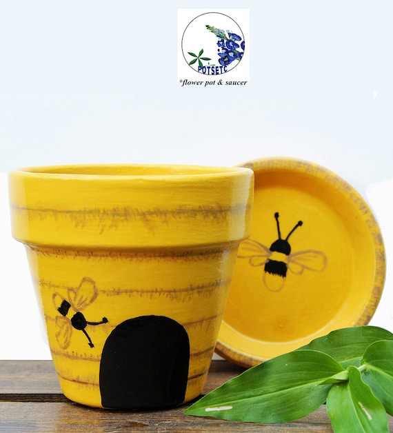 Painted bee hive flower pot yellow terra cotta planter mightylinksfo