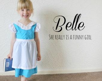 Blue and White Village Belle Disney Inspired Dress