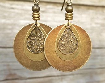 Bohemian Earrings - Dangle Boho Earrings - Brass Dangle Earrings - Boho Jewelry - Bohemian Jewelry - Ethnic Earrings - Ethnic Jewelry