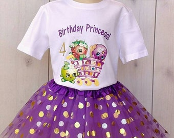 Shopkins purple gold Tutu gold custom shirt  age 1 2 3 4 5 6 7 8 9 theme party set custom  add age birthday girl gift outfit hairbow