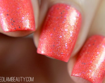 "Nail polish - ""Now And Later"" A neon pink with gold to green shifting shimmer"