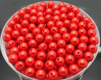 40 small red pearls 3 mm acrylic