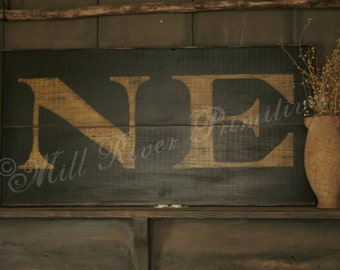 Reproduction 18th c New England 'NE' Colonial Wooden Sign