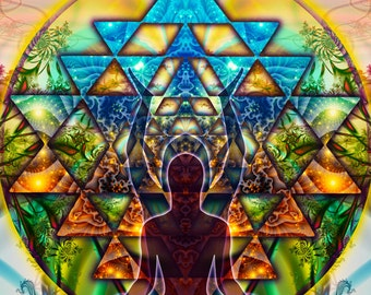 TANTRIC Cosmic Body - Tapestry, Wall Hanging -Original Pumayana Visionary Healing Art, Spiritual, Shamanic, Sacred Geometry, Entheogenic Art