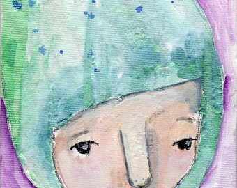 """Olive, an original 4x6"""" Nixie painting"""