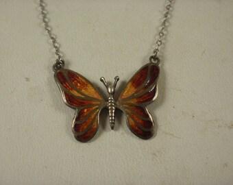 Vintage Sterling Enamel Providence Stock Co Butterfly Necklace