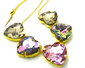 Gold Rose Hearts Necklace - Large Crystal Necklace w/ Pinks, Rainbow, & Gold Hearts - Delicate Statement Costume Jewelry