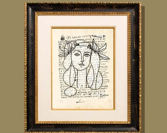 """Line Drawing of Francoise Gilot - Picasso"""" 8.5""""x11"""", printed on a letter written by Picasso, Modern Art, Giclee print, Fine Art Print"""