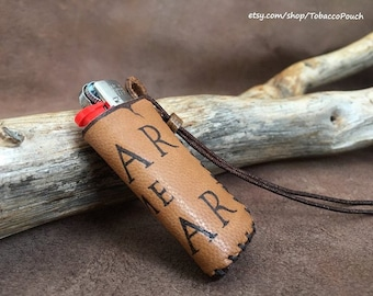 Leather lighter case, leather lighter pouch, personalized Lighter case, travel lighter case, Pyrography Leather case, handmade lightre case