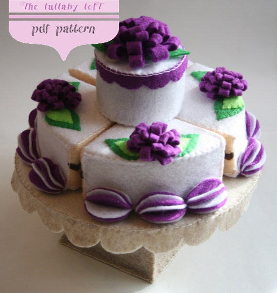 Felt Birthday Cake 2 Tier PDF PATTERN With Stand