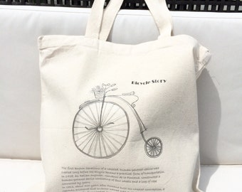 TOTE Bag - Cotton Tote Bag - Shopping bag - Bicycle