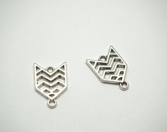 2 ethnic connectors modern arrow silver-plated 19x13mm