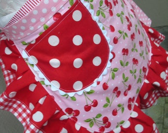Womens Aprons - Aprons with Cherry Fabric - Sweet Red Cherry Aprons - Handmade Aprons - Annies Attic Aprons - Pink Aprons - Red Waist Aprons