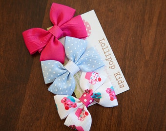 Hair Bow Set  Hair Clips Cup Cake Bow Set Baby Hair Clips Kids Hair Clips Kids Hair Clips