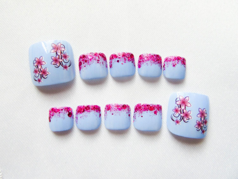 Pink and Blue Glitter Fake Toenails Fake Nails Toenails Toe