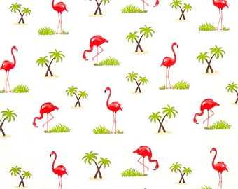 Pink Flamingo Fabric by Riley Blake, Pink Flamingos on White Cotton Fabric by Riley Blake