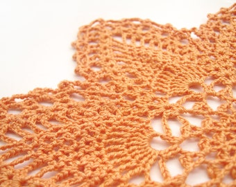 Napperon en dentelle orange - ananas sept points - fait main au Crochet, 9 », coton égyptien - automne Thanksgiving Home Decor, cadeau d'hôtesse rétro