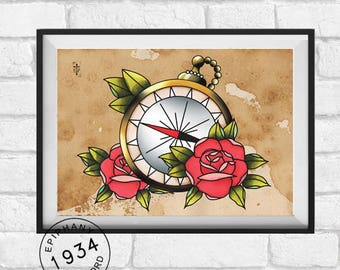 Compass and Rose tattoo Print. Neo Traditional flash style.