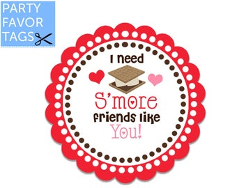 Smore Valentines Day Favor Tags - Smore Friends, Smores Valentine Tags, Valentines Day Tags, Valentine Tags, Smore Valentine Printable Tags