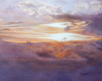 Sunrise in the Clouds - original oil painting