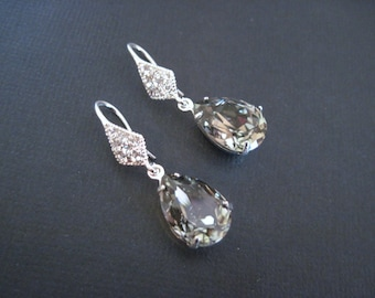 Black Diamond Swarovski Crystal Drop Earrings/ Bridal Jewelry/ Bridesmaid Jewelry/ Crystal Earrings/ Custom Earrings