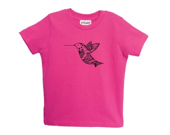Pink Hummingbird Kids Tshirt American Apparel Cotton Sizes 2-4-6 Children Tee Clothing