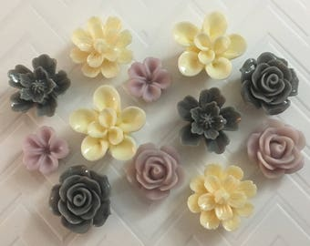 Flower Magnets Set of 12 - (#LE9) dorm decor, hostess gift, weddings, bridal shower, baby shower, gift, teacher gift